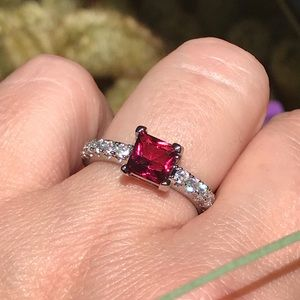 14k white gold over silver Ruby diamond ring
